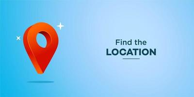 Pin location vector 3d, web banner with map location icon symbol with blank copy space in realistic Illustration
