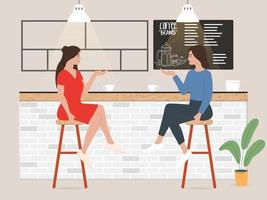 Ilustration of two women sitting and talking in bar or cafe vector