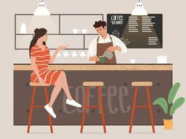 Young male barista making coffee and talking with customer vector