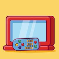 tv with remote control isolated cartoon illustration in flat style vector