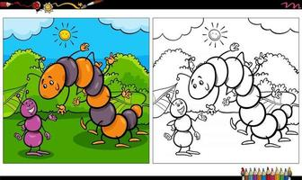 cartoon ant and caterpillar insects coloring book page vector