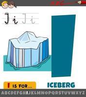 Hoja de trabajo de la letra i con objeto de iceberg de dibujos animados vector
