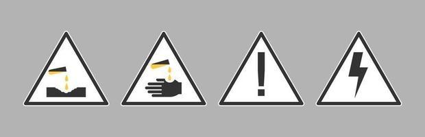 Señal de advertencia de peligro biológico de gas químico corrosivo. advertencia eléctrica. etiqueta de laboratorio biológico vector