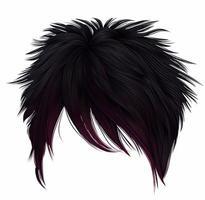 mujer de moda pelos cortos negro rosa colores. franja larga. estilo de belleza de moda. emo japonesas. vector