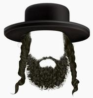 black  hair sidelocks with beard . mask wig jew hassid in hat . vector