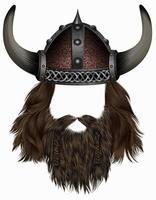 viking in  horned helmet . mask wig. man   hair with beard . vector