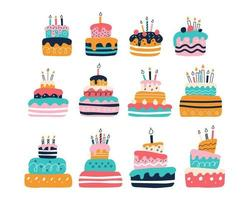 A large set of bright colorful cakes on a white background in the style of flat doodles. Vector illustration. Children's room decor, posters, postcards, clothing and interior items