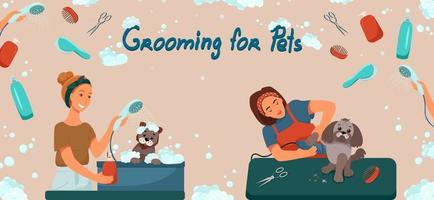 Grooming for pets banner. Salon for dogs. Template for web page design. Vector illustration in flat style