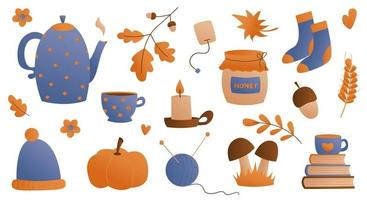 Flat style collection of cozy home items for autumn season. Leaves, pumpkin, hat, burning candles, books, kettle and hot drinks in a mug and cups for a warm atmosphere. Vector illustration.