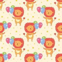 Feliz cumpleaños de patrones sin fisuras lindo animal león con globos decoración navideña celebración ilustración vectorial para niños aislados sobre fondo vector