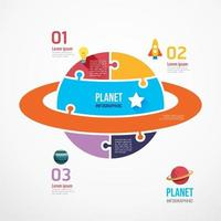 Planet shape jigsaw banner. Concept Design infographic Template vector illustration