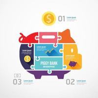 piggy bank shape jigsaw banner. Concept Design infographic Template vector illustration