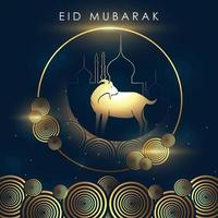 Poster of Eid Mubarak in the blue background vector