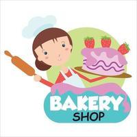 Bakery shop girl character vector template design illustration