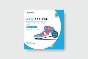Sport fashion shoes brand product Social media banner post template vector
