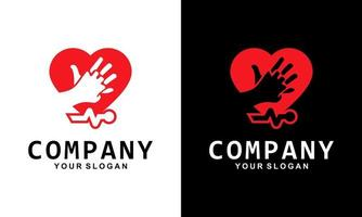 Two Hand Logo Template Inside Heart Symbol That Describes Parental and Children's Affection vector