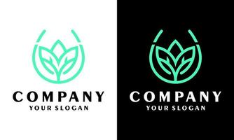 Ilustration vector graphic of  Luxury design concept of tree leaf magnola flower and nature green logo design, fresh plant eco-friendly concept business enterprise design