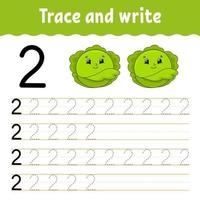 Trace and write. Handwriting practice. Learning numbers for kids. Education developing worksheet. Activity page. Game for toddlers and preschoolers. Isolated vector illustration in cute cartoon style.