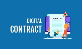 digital contract job vector illustration concept template design background can be use for presentation web banner UI UX landing page