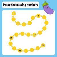 pegue los números que faltan. práctica de escritura a mano. aprender números para niños. hoja de trabajo de desarrollo educativo. página de actividad. juego para niños. Ilustración de vector aislado en estilo de dibujos animados lindo.