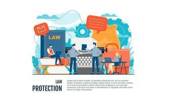 El diseño de fondo de plantilla de concepto de ilustración de vector de juicio legal se puede utilizar para presentación web banner ui ux página de inicio