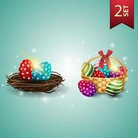 Set of Easter icons, Easter eggs in the nest and basket with Easter eggs vector