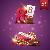 conjunto de iconos del día de la mujer, regalos con el número ocho y regalo en forma de corazón vector