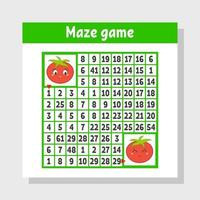Mathematical colored square maze. Help one tomato get to another. Game for kids. Puzzle for children. The study of numbers. Labyrinth conundrum. Flat vector illustration isolated on white background.