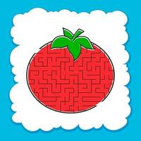 Maze Tomato. Game for kids. Puzzle for children. Cartoon style. Labyrinth conundrum. Color vector illustration. The development of logical and spatial thinking.
