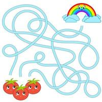 Color abstract maze. Help the tomatoes get to the rainbow. Kids worksheets. Activity page. Game puzzle for children. Cartoon style. Labyrinth conundrum. Vector illustration.