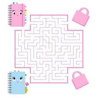 Color square maze. Game for kids. Puzzle for children. Help the cute notebooks to meet. Labyrinth conundrum. Flat vector illustration. Cartoon style.