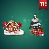 Set of Christmas 3D icons, Christmas gingerbread house and Christmas tree in a pot with gifts vector