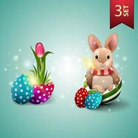 Set of Easter icons, tulip growing from Easter egg and Easter Bunny in egg vector