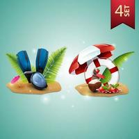 Set of 3D volumetric summer icons for your arts, diving mask, fins, palm leaves, coconut ice cream cocktail, beach umbrella, fruit, palm leaves and lifeline vector