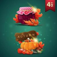 Set of autumns 3D icons, jar of jam, maple leaves, harvest of vegetables and a wooden sign vector