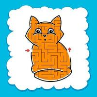 Maze cute kitty. Game for kids. Puzzle for children. Cartoon style. Labyrinth conundrum. Color vector illustration.