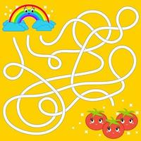 Color abstract maze. Help the rainbow to reach the tomatoes. Kids worksheets. Activity page. Game puzzle for children. Cartoon style. Labyrinth conundrum. Vector illustration.