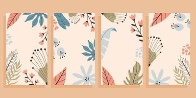 Set of four flyers with empty space for text. Tropical background, hand drawn illustrations. vector