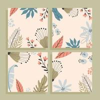 Tropical square cards set with empty space for text, hand drawn illustrations. vector