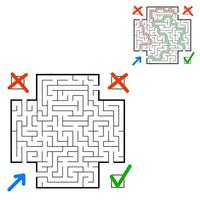 Abstract square maze. Find the right path. Game for kids. Puzzle for children. Labyrinth conundrum. Flat vector illustration isolated on white background. With answer. With place for your image.