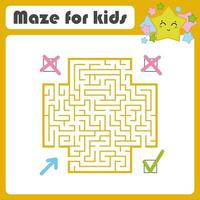 Square color maze. Kids worksheets. Activity page. Game puzzle. Find the right path from the blue arrow to the green check mark. Cute cartoon star. Vector illustration. With place for your image.