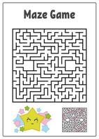 Abstract square maze. Kids worksheets. Game puzzle for children. Funny star and mushroom on a white background. One entrances, one exit. Labyrinth conundrum. Vector illustration. With the answer.