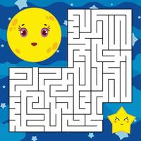 Abstract square maze with a cute color cartoon character. The moon and the star. An interesting and useful game for children. Simple flat vector illustration isolated on white background.