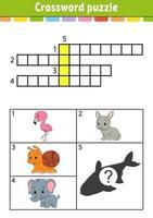crucigrama. hoja de trabajo de desarrollo educativo. página de actividades para estudiar inglés. con imágenes en color. juego para niños. ilustración vectorial aislada. personaje divertido. estilo de dibujos animados. vector