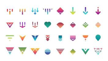 Swipe top down download icon scroll colored pictogram set isolated for blogger web ui ux design. Vector colorful arrow bottom for application and social network website. Gradient button illustration