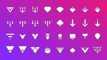 Swipe top down or download icon scroll pictogram set for blogger web ui ux design. Vector white arrow bottom for application and social network website. Simple white button on gradient illustration