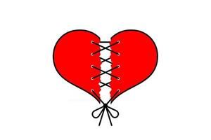 Torn red heart like broken love sewn with black thread on white background. Vector card for Valentine's Day.