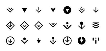 Swipe top down or download icon scroll pictogram set isolated for app web ui ux design. Vector black arrow bottom for application and social network website. Eps simple button illustration