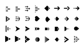 Swipe arrow right black button icon set. Application and social network scroll cursor pictogram for web design or app. Vector flat modern next direction pointer ui ux interface collection illustration