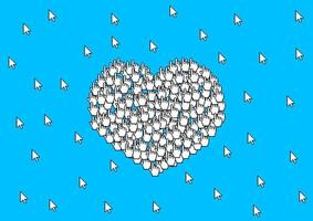 Many cursors form a sign of love heart symbol on white background. Valentine's Day card. vector